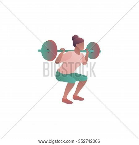 Woman Workout In Gym, Flat Vector Gradient Illustration. Athlete Weightlifter Crouch With A Barbell