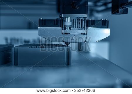 Modern Technical 3d Printing. Electronic Three Dimensional Plastic Printer During Work.