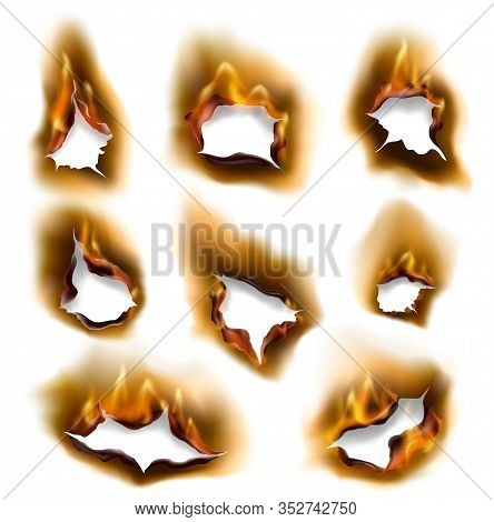 Burning Fire Flames And Burnt Paper Holes With Edges, Vector Realistic. Burned Paper Pages With Abst