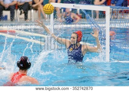 KIRISHI, RUSSIA - FEBRUARY 8, 2020: Anna Karnaukh, goalkeeper of KINEF-Surgutneftegas, Kirishi, Russia in the first quarterfinal match of LEN Women's Euroleague in water polo against UZSC, Utrecht