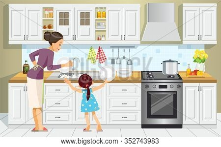 Mother And Daughter Washing The Dishes. Girl Help Her Mum In Washing Dishes At Family Kitchen. Mothe