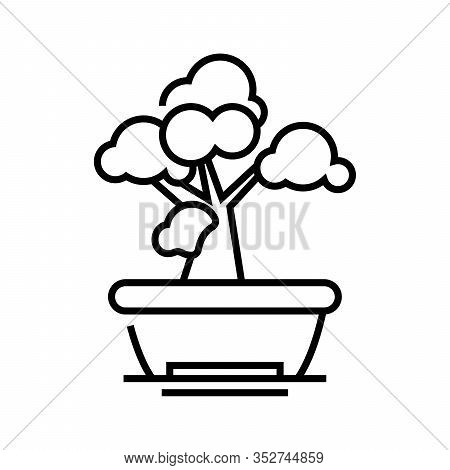 Bonsai Tree Line Icon, Concept Sign, Outline Vector Illustration, Linear Symbol.