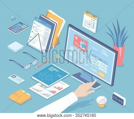 Online Tax Payment Via Computer. Monitor With Tax Form On The Screen. Man Finger Presses The Pay But