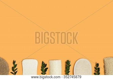 Set Of Eco-friendly Sponges For Body Care On The Yellow Background. Zero Waste Concept For Self-care