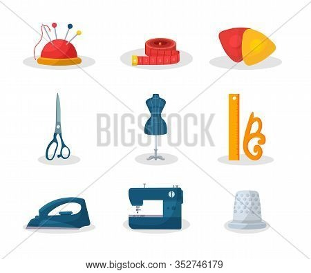 Tailoring Tools Flat Vector Illustrations Set. Needle Pin And Measuring Tape. Fashion Workshop Dress