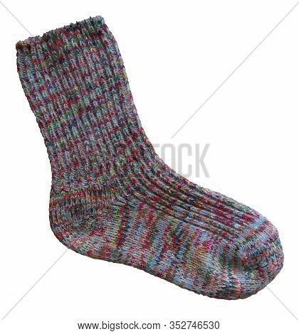 Woolen Sock Isolated On White Background. Clipping Path Included.