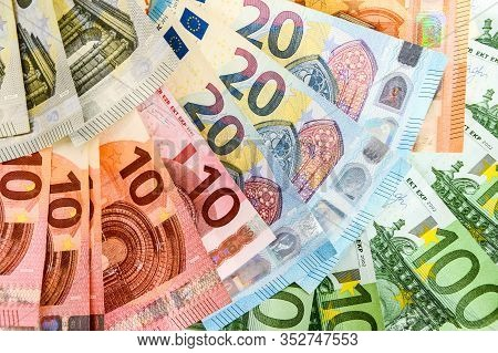 Pile Of Paper Euro Banknotes As Part Of The United Countrys Payment System, Euro European Currency -