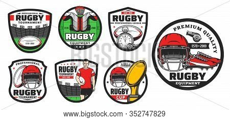 Rugby Football Sport Game Vector Icons. Player, Balls And Play Field, Champion Trophy Cup, Stadium A