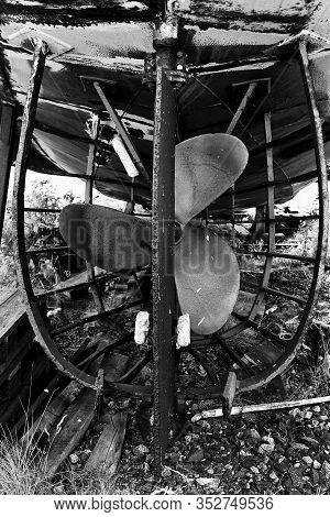 The Rudder And Propeller Of An Old Fishing Boat At The Fishing Harbour Of Kalajoki, Finland. The Rus