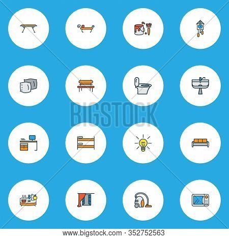 Decor Icons Colored Line Set With Buffet, Vacuum Cleaner, Pillow And Other Sofa Elements. Isolated V