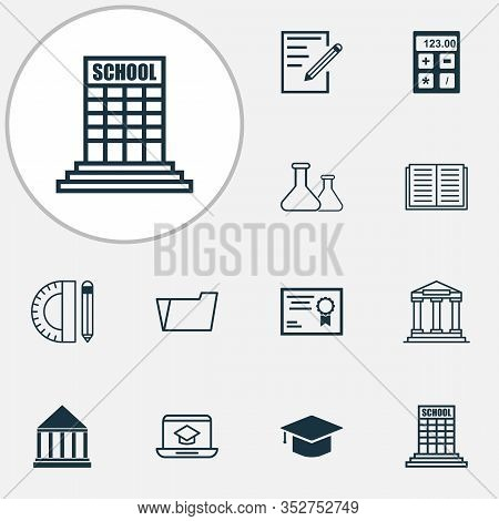 School Icons Set With Literature, Diploma, Notebook And Other Document Case Elements. Isolated Vecto