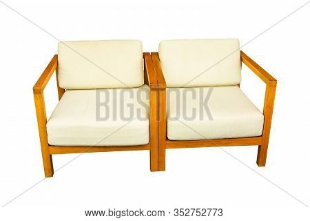 Sofa And Pillows Furniture Isolated On White Background.