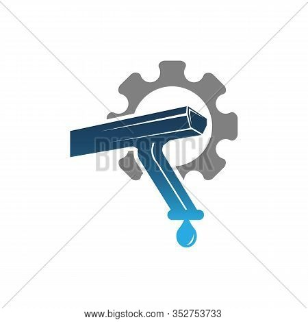 Gutter Icon With Gear Flat Element. Vector Illustration Of Gutter Icon Flat Isolated On Clean Backgr