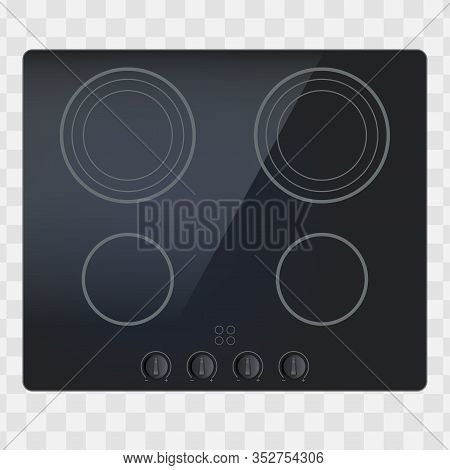 Glass Surface Of Electric And Inductive Hob. Domestic Kitchen Equipment. Above View Of Electric Stov