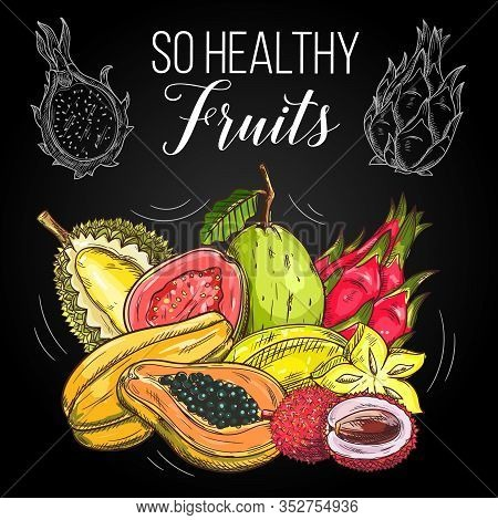Exotic Tropical Fruits, Vector Sketch Papaya, Guava, Durian And Pitaya Dragonfruit, Carambola Starfr