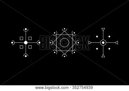 Magic Geometry Cruciform White Symbol Set. Circle, Square, Rhombus With Inscribed Figures. Ufo Signs