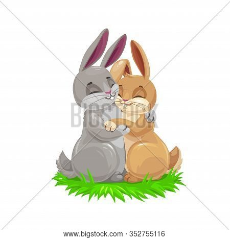 Easter Cartoon Bunny Couple, Holiday Egghunting Vector Design. Easter Egg Hunt Gray And Brown Rabbit