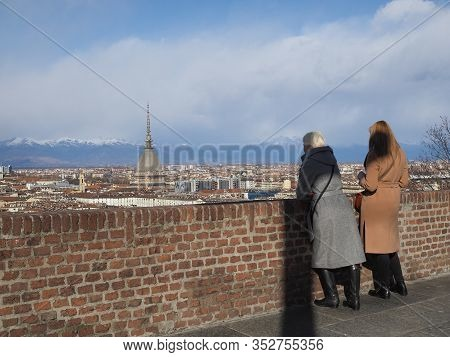 Women Looking At City Of Turin In Turin
