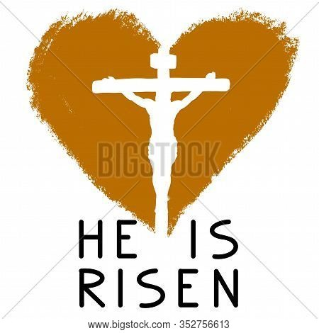 Cross And Heart And Calligraphic Text Logo, Easter Religious Symbol Of Christianity Hand Drawn Vecto