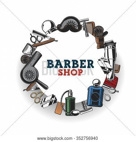 Barber Shop Salon, Haircut Tools. Barbershop Equipment And Barber Tools, Beard Trimmer, Mustache Sha