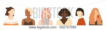 Collection Of Portraits Of Young Stylish Women Different Nationalities. Bundle Girls With Different