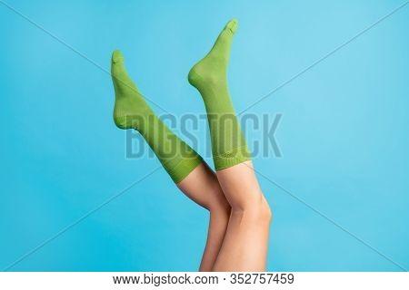 Cropped Profile Side View Of Nice Attractive Feminine Long Legs Wearing Mint Green Brandy Sock Isola