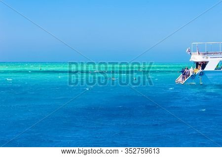 Sharm El Sheikh, Egypt - February 16, 2020: Sail Boat Ship With Tourists In Ras Mohamed National Par