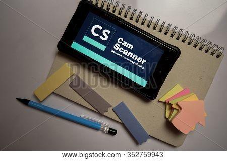 Bekasi, West Java, Indonesia. February 26, 2020 : Camscanner - Phone Pdf Creator Dev App On Smartpho