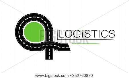 Logo Or Emlem Of A Logistics Company Or Road Service. Road Construction. Shipping. Transport Interch