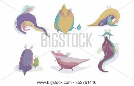 Fairy Dragons With Small Wings Playing With Their Cubs Vector Set