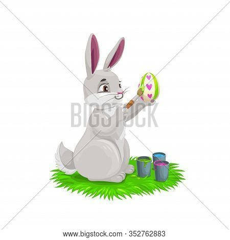 Bunny Painting Easter Holiday Egg. Vector Design Of Egghunting Party. White Rabbit Or Bunny Cartoon