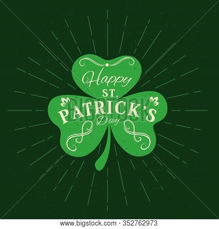 Patricks Day Holiday Shamrock Clover Vector Greeting Card. Green Shamrock Leaf, Symbol Of Luck With