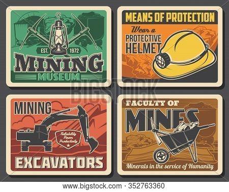 Mining Industry Coal Mine Machinery Excavators And Miner Equipment Museum Vector Vintage Posters. Mi