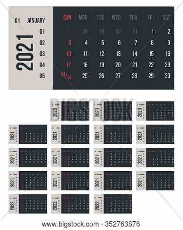 Calendar For 2021 Year Vector Illustration. Basic Grid Colorful Design. Organizer Template In Black,