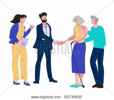 Elderly Senior Couple Visit Public Notary For Inheritance Or Testament Document.