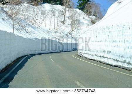 Hachimantai Aspite Line , Snow Wall Layer Cover Along Both Way Of Road On Mount Akita Iwate, Scenic