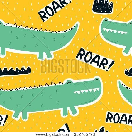 Seamless Pattern With Cartoon Crocodiles, Decor Elements On A Neutral Background. Colorful Vector Fo