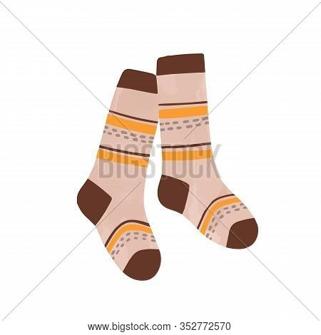 Striped Autumn Warm Socks Vector Flat Illustration In Watercolor Style. Pair Of Cartoon Cute Comfort