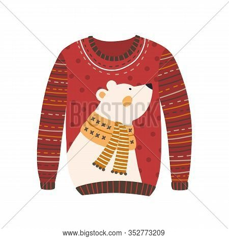 Comfortable Red Handmade Christmas Sweater With Cute White Bear Image Isolated. Cozy Knitted Winter