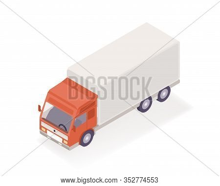 Delivery Truck Isometric Vector Illustration. Cartoon Vehicle Express Supply Parcel Service Isolated