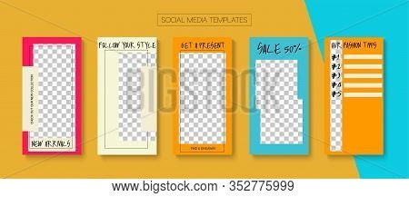 Modern Stories Vector Background. Funky Sale, New Arrivals Story Layout. Blogger Tech Design, Social