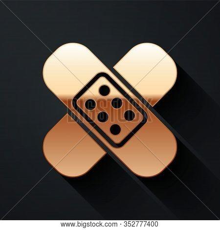 Gold Crossed Bandage Plaster Icon Isolated On Black Background. Medical Plaster, Adhesive Bandage, F