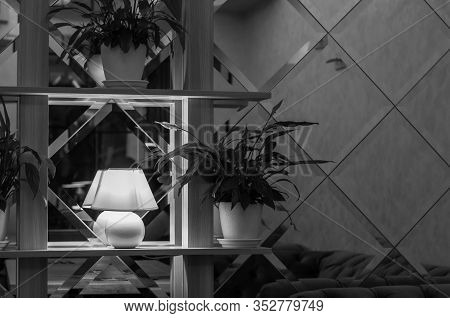 Black And White Stock Photo Of Modern Interior Of Mirrored Wall And White Lamp On Shelf With Lush Fo