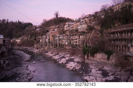The Rioni River And The Residential Quarters Of Kutaisi At Dawn.