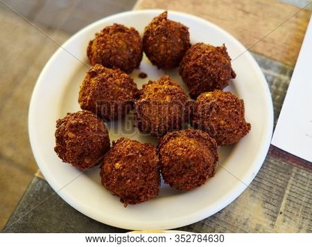 Close-up Of Delicious Falafel Balls Typical Classical Middle East Arabic Street Food
