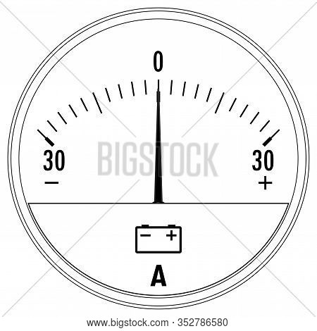 Ammeter. Outline Icon. Vector Illustration Isolated On White Background