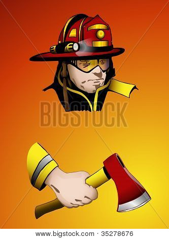Firefighter with axe in hand, vector illustration