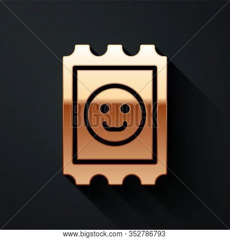 Gold Lsd Acid Mark Icon Isolated On Black Background. Acid Narcotic. Postmark. Postage Stamp. Health
