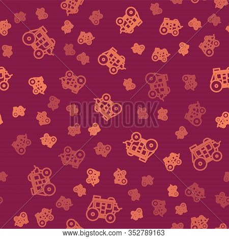 Brown Line Western Stagecoach Icon Isolated Seamless Pattern On Red Background. Vector Illustration