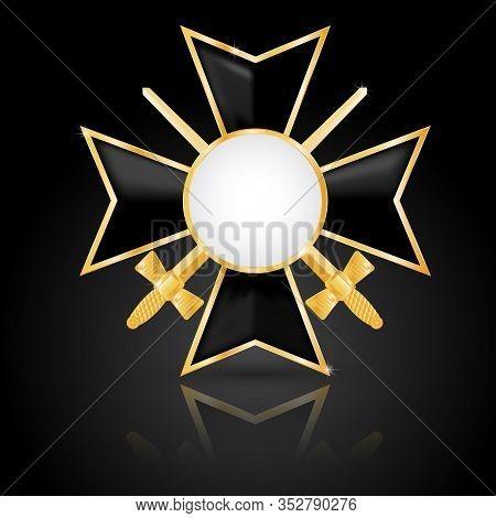 Order With Swords. Military Medal. Enameled Cross With Golden Frame. Vector Illustration On Black Ba